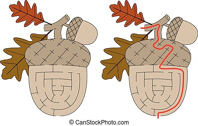 Easy acorn maze for younger kids with a solution