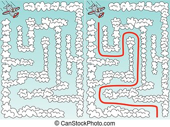 Easy airplane maze for younger kids with a solution