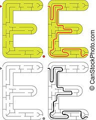 Easy alphabet maze - letter E - Easy alphabet maze for kids ...