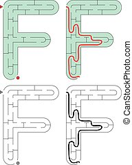 Easy alphabet maze for kids with a solution - worksheet for learning alphabet - recognizing letter F