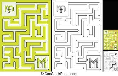 Easy alphabet maze - letter M - Easy alphabet maze for kids ...