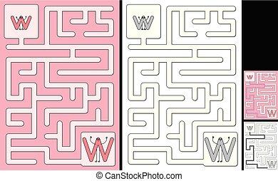 Easy alphabet maze - letter W - Easy alphabet maze for kids ...