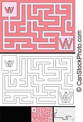 Easy alphabet maze for kids with a solution - worksheet for learning alphabet - recognizing letter W