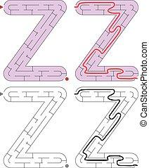 Easy alphabet maze for kids with a solution - worksheet for learning alphabet - recognizing letter Z