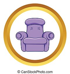 Easy armchair vector icon, cartoon style