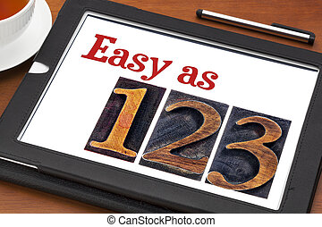 easy as 1, 2, 3 concept - text and numbers in letterpress...