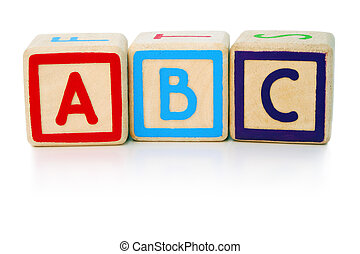 Easy as abc - Isolated children's building blocks spelling a...