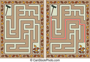 Easy autumn maze for younger kids with a solution