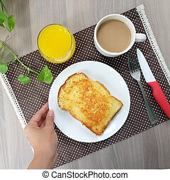 Easy breakfast with cheese toast, coffee and orange juice