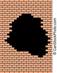 easy brick wall as orange and black backgroud