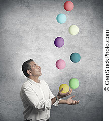 Easy business concept with juggler businessman