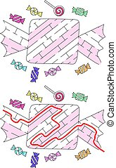 Easy candy maze for younger kids with a solution