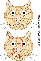 Easy cat maze for younger kids with a solution