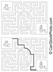Easy cat maze for kids with a solution - worksheet for learning numbers - recognizing number 0