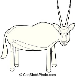 Easy Coloring Animals for Kids: Oryx Gazelle