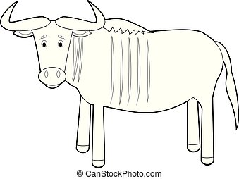 Easy Coloring Animals for Kids: Wildebeest