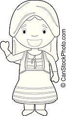 Easy coloring cartoon character from Cyprus dressed in the ...