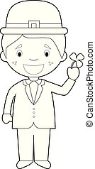 Easy coloring cartoon character from Ireland dressed in the traditional way with a clover. Vector Illustration.