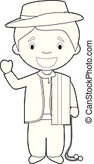 Easy coloring cartoon character from Uruguay dressed in the ...