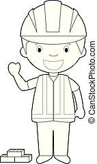 Easy coloring cartoon vector illustration of a builder.