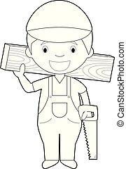 Easy coloring cartoon vector illustration of a carpenter.
