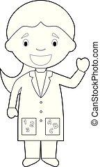 Easy coloring cartoon vector illustration of a female teacher.