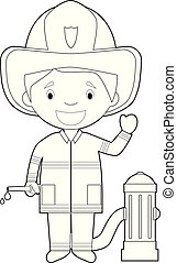 Easy coloring cartoon vector illustration of a firefighter.