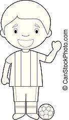 Easy coloring cartoon vector illustration of a football player.