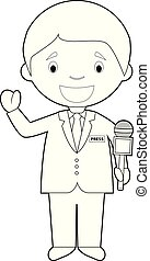 Easy coloring cartoon vector illustration of a journalist.