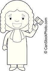 Easy coloring cartoon vector illustration of a judge.