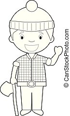 Easy coloring cartoon vector illustration of a lumberjack.