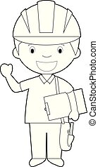 Easy coloring cartoon vector illustration of an engineer.