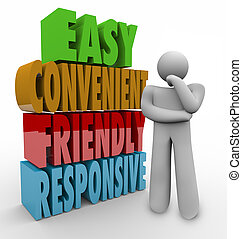 Easy Convenient Friendly Responsive Thinker 3d Words - Easy,...