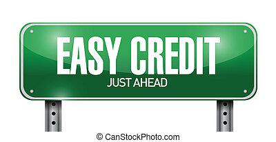 easy credit road sign illustration design over a white ...