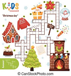 """Easy crossword puzzle """"Christmas day"""""""