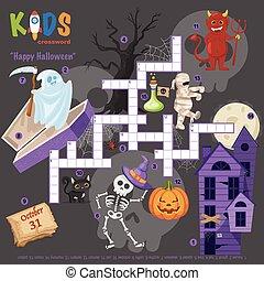 """Easy crossword puzzle """"Happy Halloween"""", for children in ..."""