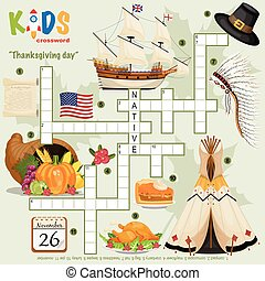 """Easy crossword puzzle """"Thanksgiving day"""", for children in ..."""