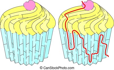 Easy cup cake maze for younger kids with a solution