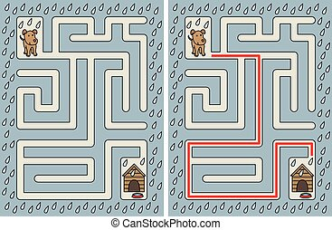 Easy dog maze for younger kids with a solution