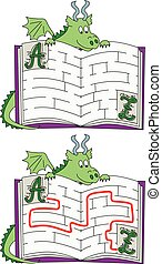 Easy dragon maze for younger kids with a solution