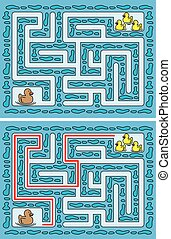 Easy duck maze for younger kids with a solution