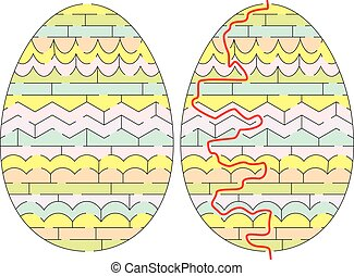 Easy Easter egg maze for younger kids with a solution