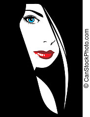 easy face of girl with red lips