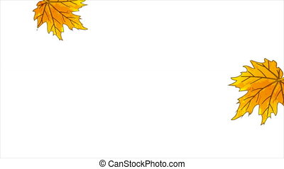 Easy falling autumn leaves, art video illustration.