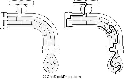 Easy faucet maze for younger kids with a solution