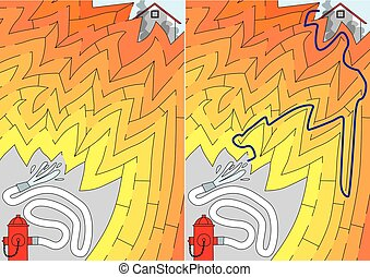 Easy firefighting maze for younger kids with a solution