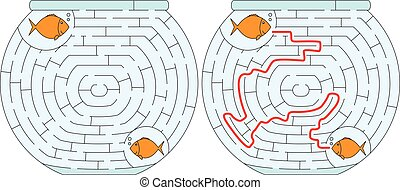 Easy fishbowl maze for younger kids with a solution