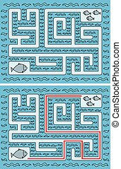 Easy fishes maze for younger kids with a solution