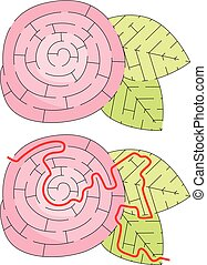 Easy flower maze for younger kids with a solution