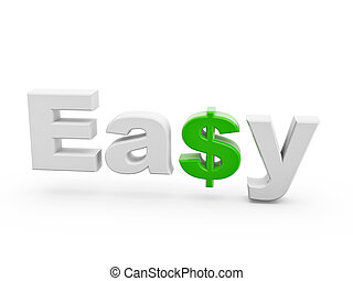 easy green dollar sign with shadow isolated on white background